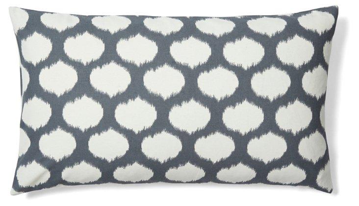 Dots 14x24 Cotton Pillow, Gray