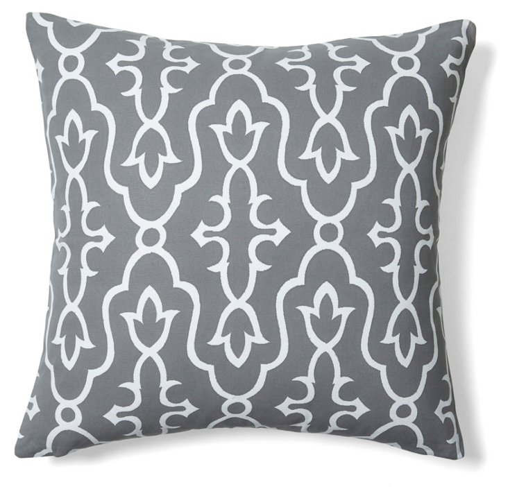 Vibrant 20x20 Cotton Pillow, Gray