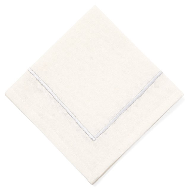 S/4 Border Cocktail Napkins, Silver