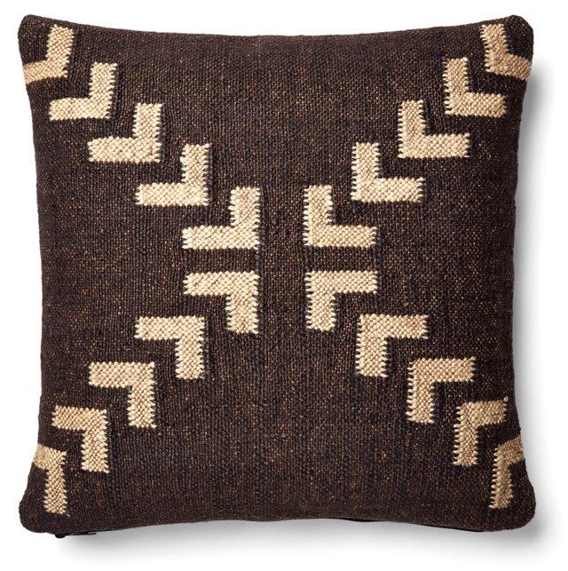 Arrow 20x20 Wool-Blend Pillow, Brown
