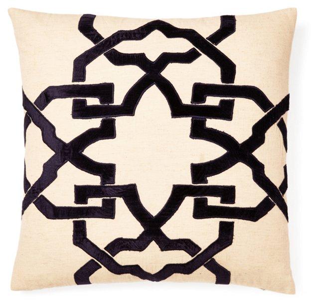 Leah 20x20 Velvet Applique Pillow, Black