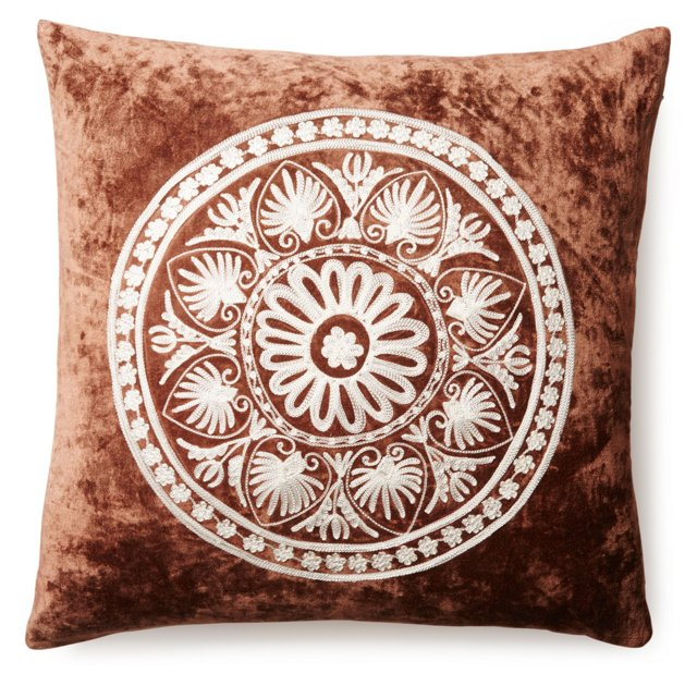 Myles 20x20 Embroidered Pillow, Brown
