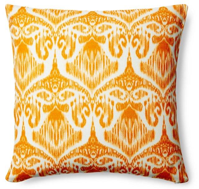 Ikat 20x20 Cotton Pillow, Orange