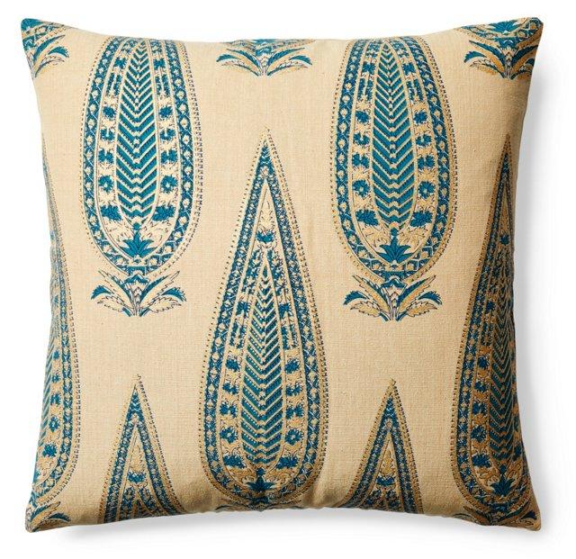 Shalimar 20x20 Cotton Pillow, Aqua/Ivory