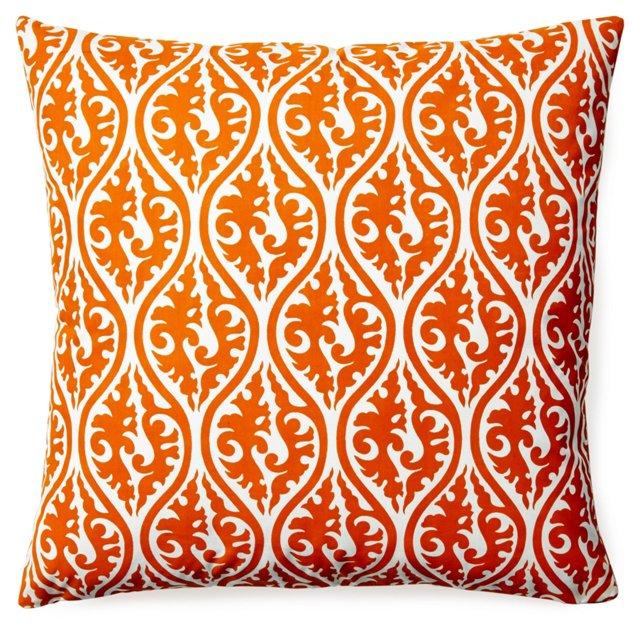 Tania 20x20 Cotton Pillow, Orange