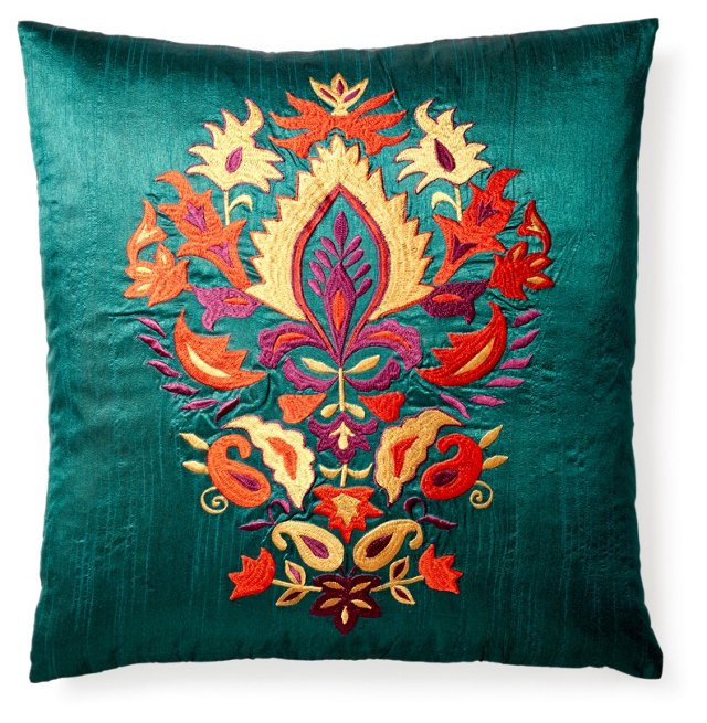 Thalia 20x20 Embroidered Pillow, Teal