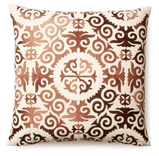 Kieren 20x20 Embroidered Pillow, Brown