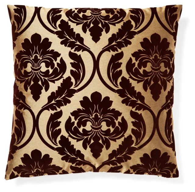 Damask 20x20 Velvet Pillow, Brown