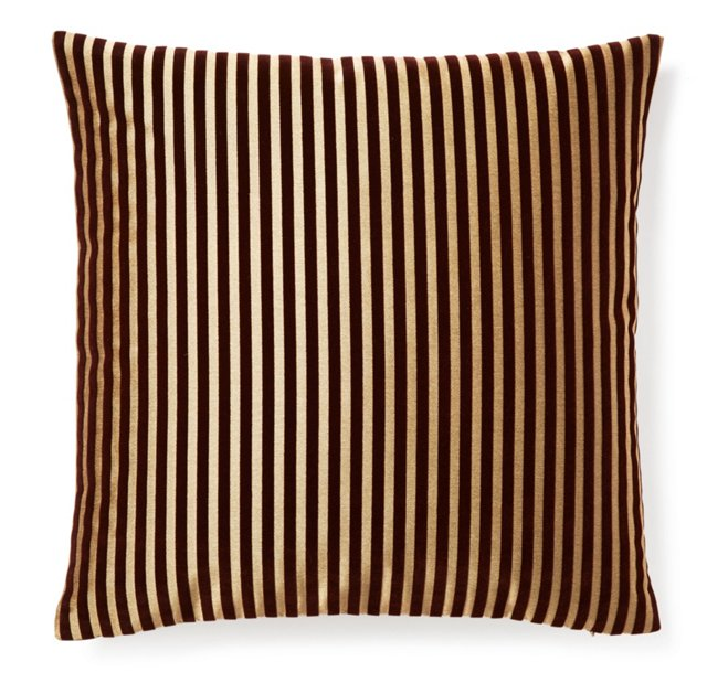 Stripes 20x20 Embroidered Pillow, Java
