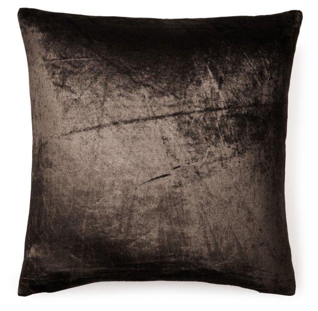 Fiona 20x20 Velvet Pillow, Brown