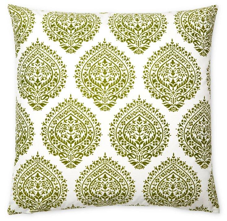 Falguni 20x20 Cotton Pillow, Green