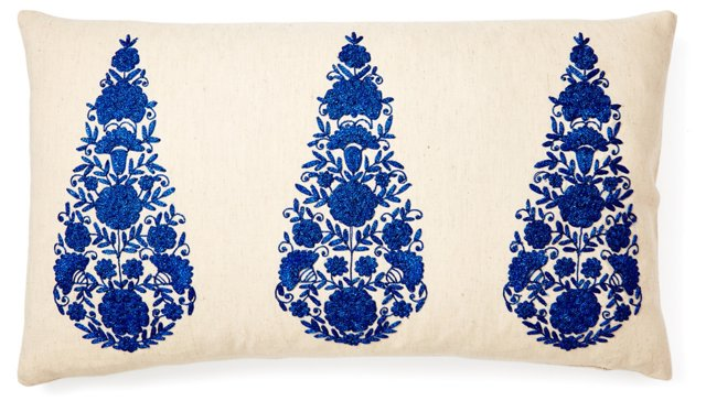 Drop 14x24 Embroidered Pillow, Blue
