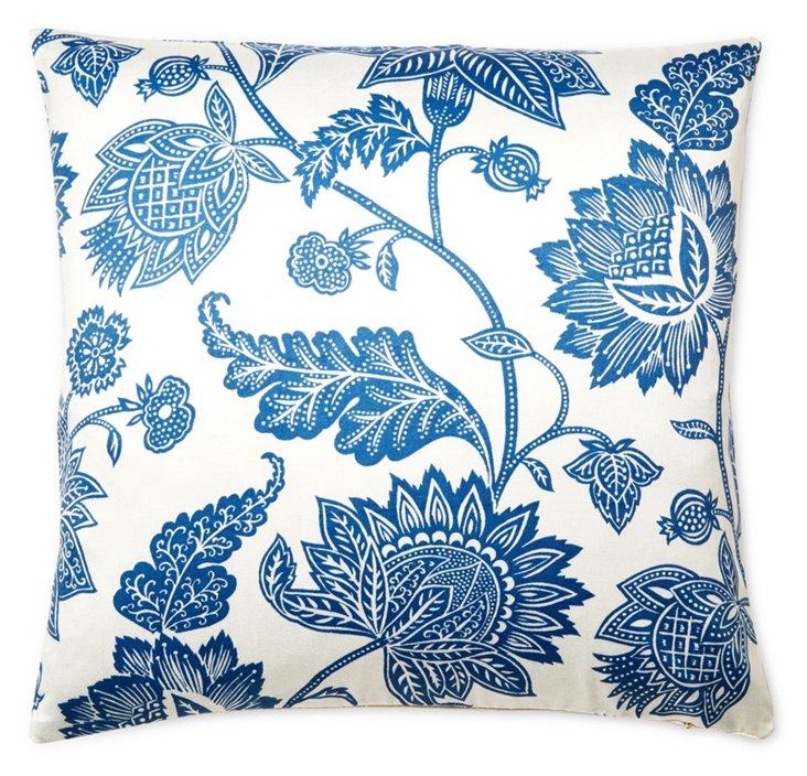 Palampore 20x20 Cotton Pillow, Blue