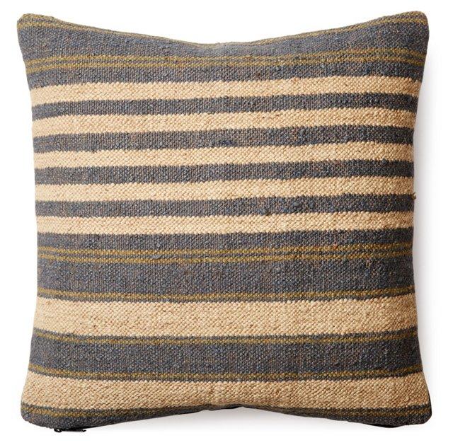 Stripe 20x20 Wool-Blend Pillow, Gray