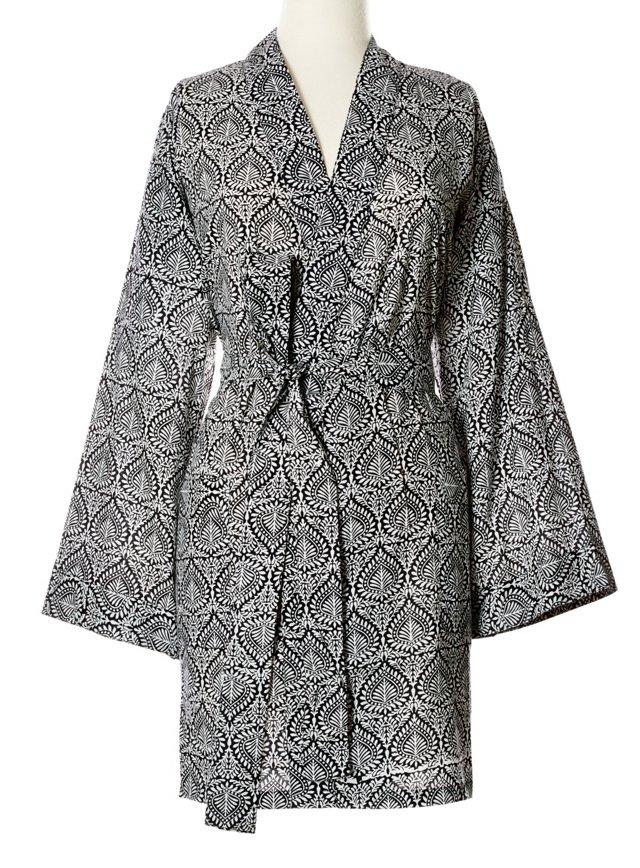 Printed Kimono Robe, Black/White