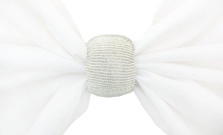 S/4 Beaded Napkin Rings, Silver