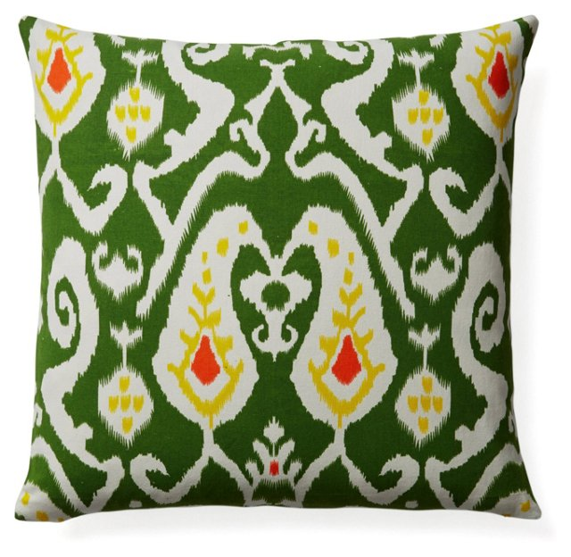 Ikat 20x20 Cotton Pillow, Green