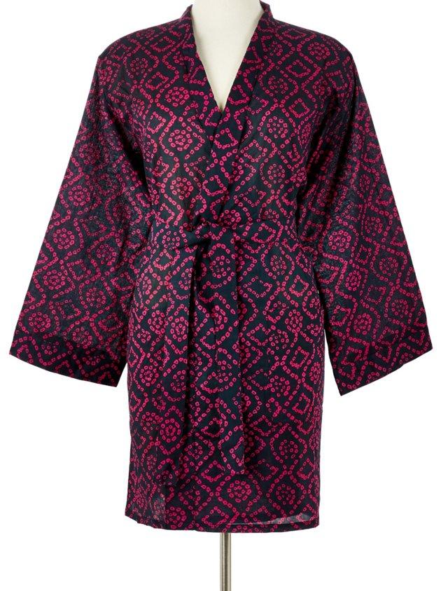 Printed Kimono Robe, Magenta