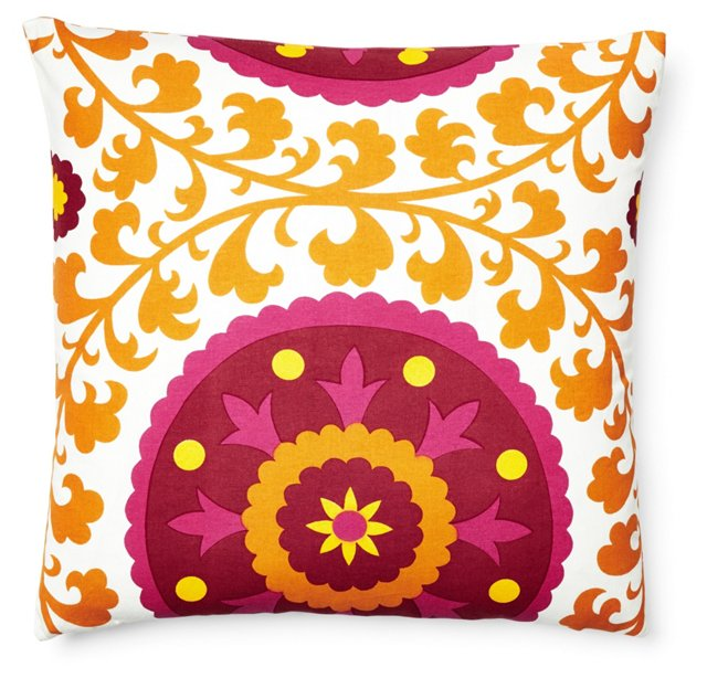 Suzani 20x20 Cotton Pillow, Orange
