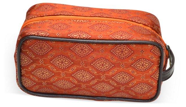 Brocade Cosmetic Bag, Orange