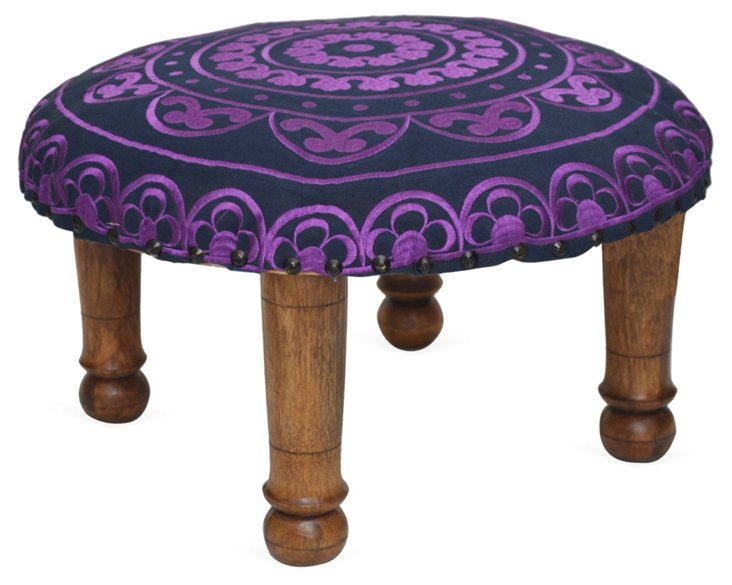 Kylie Embroidered Footstool, Violet
