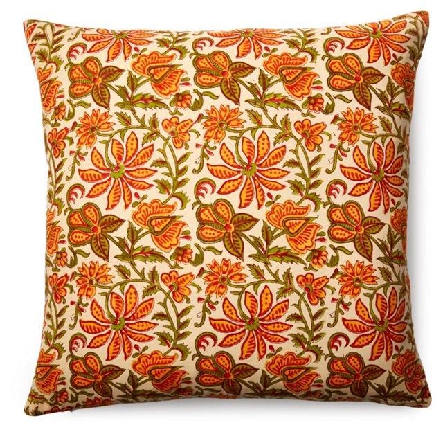 Palampore 24x24 Cotton Pillow, Orange