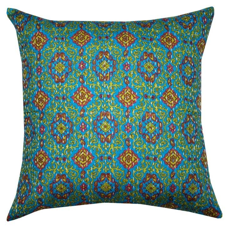 Mari 20x20 Cotton Pillow, Green