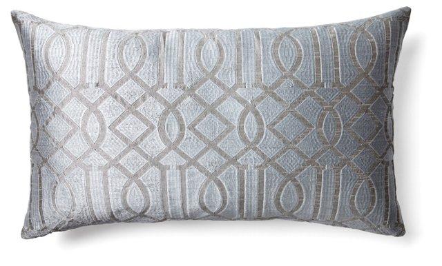 Trellis 14x24 Embroidered Pillow, Gray