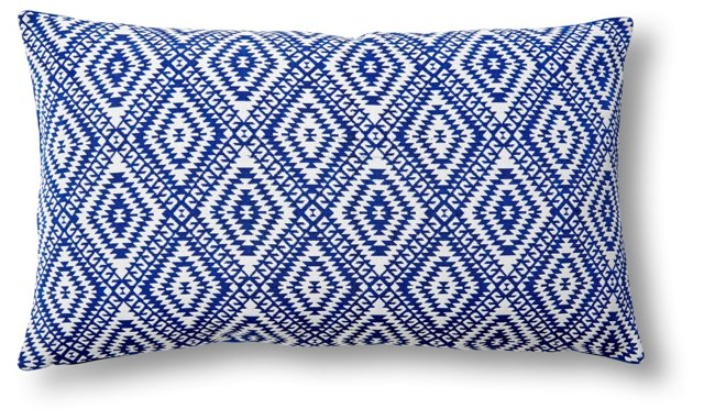 Luna 14x24 Cotton Pillow, White/Blue