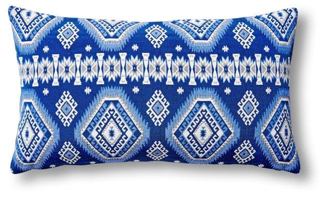 Inda 14x24 Cotton Pillow, White/Blue