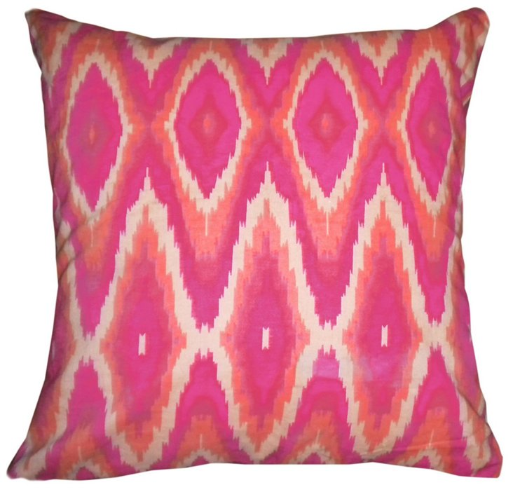 Iconic 18x18 Cotton Pillow, Pink