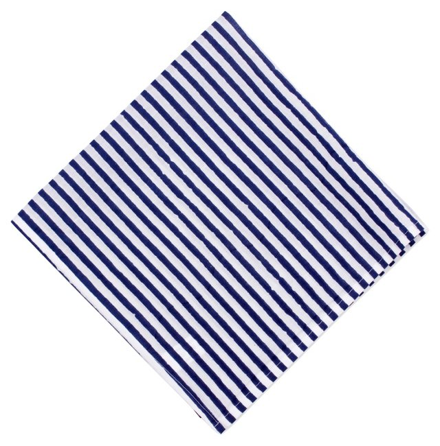 S/4 Striped Cocktail Napkins, Navy