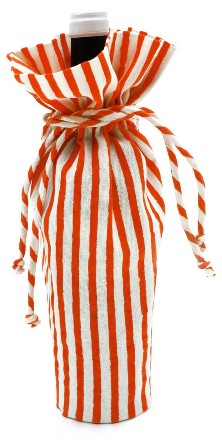 Striped Wine Bag, Coral