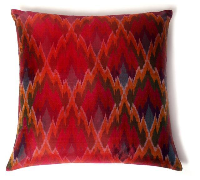Rhea Ikat 20x20 Silk Pillow, Red