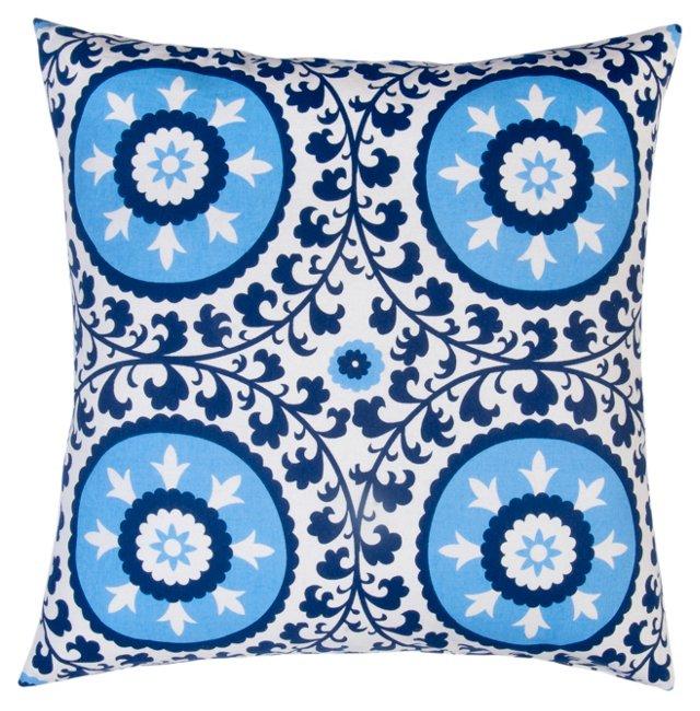 Suzani 20x20 Cotton Pillow, Blue