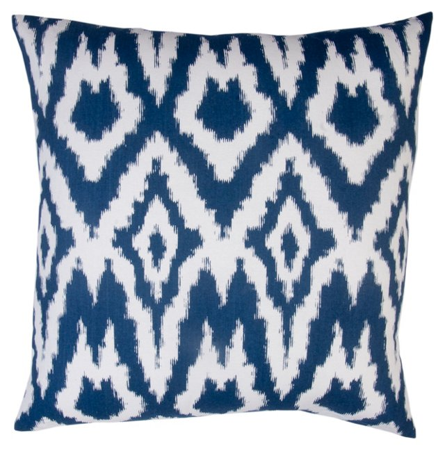 Overscale Ikat 20x20 Cotton Pillow, Navy