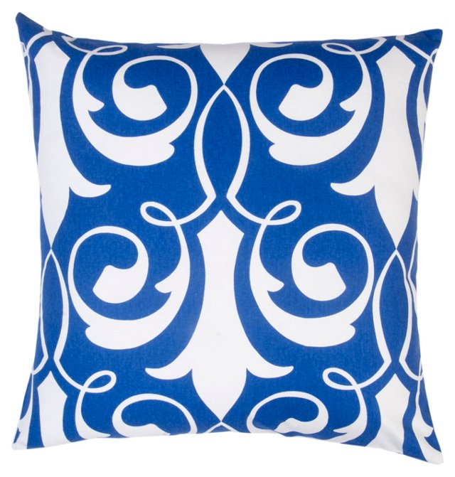 Damask 20x20 Cotton Pillow, Navy