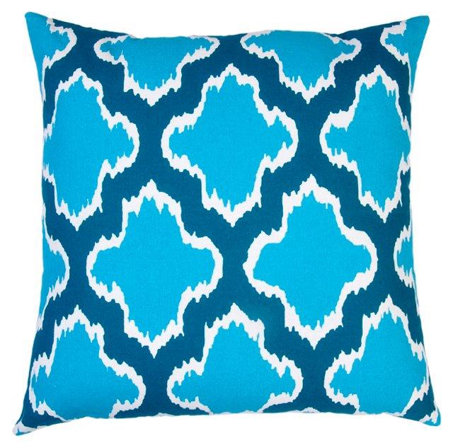 Sahara 20x20 Cotton Pillow, Turquoise