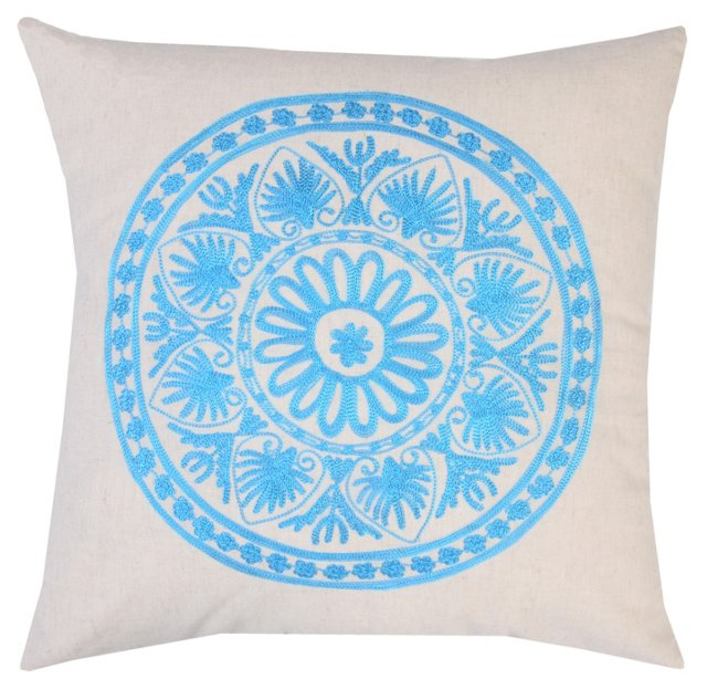 Motif 20x20 Embroidered Pillow, Blue