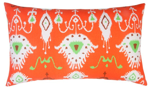 Tribal Ikat 14x24 Cotton Pillow, Orange