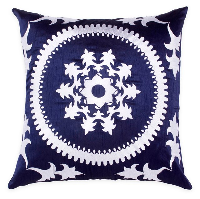 Aglaia 20x20 Embroidered Pillow, Navy