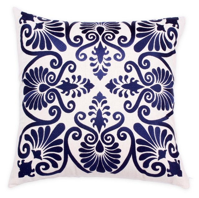 Lana 20x20 Cotton Pillow, Navy