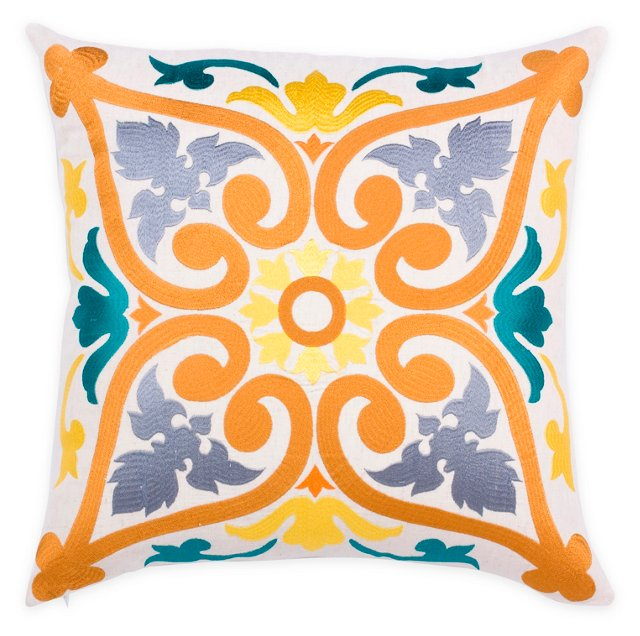 Lily 20x20 Embroidered Pillow, Multi