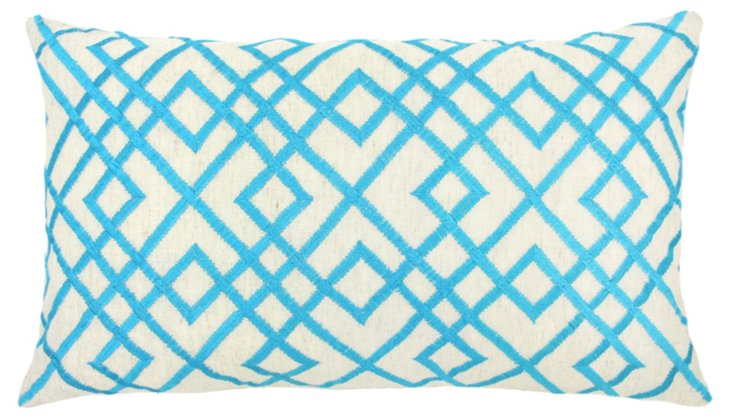 Mani 14x24 Embroidered Pillow, Blue