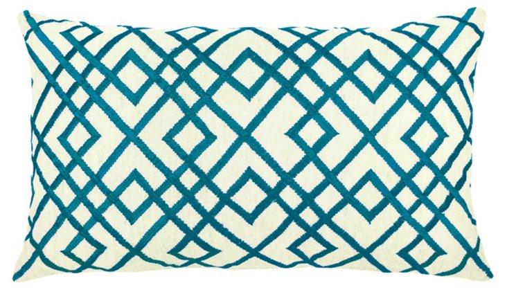 Mani 14x24 Embroidered Pillow, Cobalt
