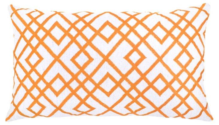 Mani 14x24 Embroidered  Pillow, Orange