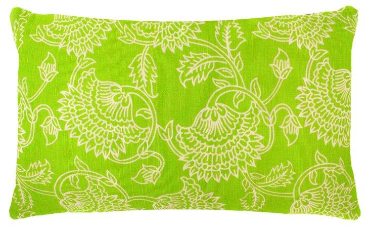 Floral 14x24 Jute Pillow, Green