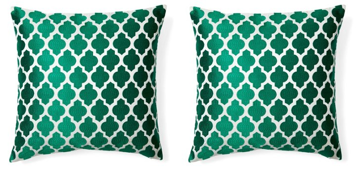 S/2 Al 20x20 Embroidered Pillows, Green