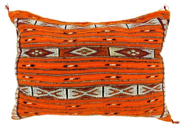 Moroccan Kilim 15x21 Wool Pillow, Orange