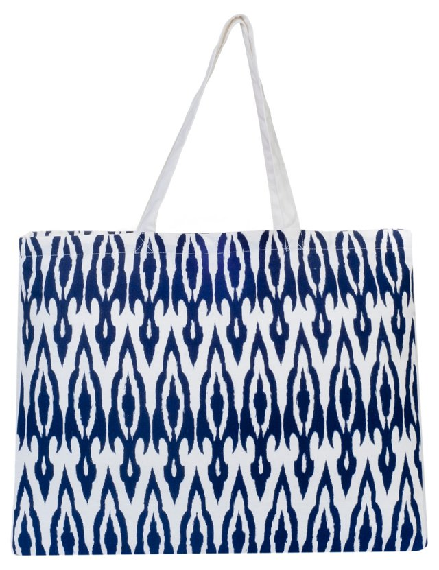 Spindle Ikat Market Tote, Navy/White
